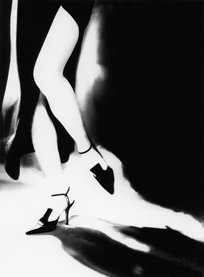 Lillian Bassman (American, 1917-2012):TRA MODA E ARTE: TERESA IN A GOWN BY LAURA BIAGIOTTI AND SHOES BY ROMEO GIGLI, 1996Gelatin silver print, 20 x 16 inches. Print number 1 from an edition of 25. Signed and editioned, in pencil, on verso. [LBM.B2.132.1620.1]© Lillian Bassman Estate, Courtesy Edwynn Houk Gallery