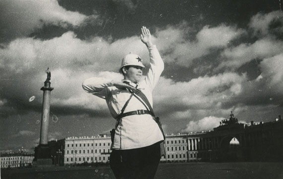 Dmitry Debabov, Traffic Controller in Leningrad, gelatin silver print, photographed and printed in 1935, 15 by 23 cm. Estimate: £1,500-2,000