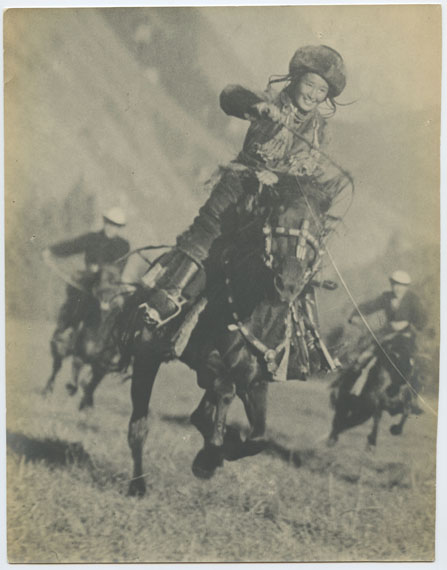 Maks Alpert, Kyrgyz Girl Leading in a Horse Racing Competition, gelatin silver print, photographed and printed c. 1936, 25.5 by 20.5 cm. Estimate: £1,000–2,000