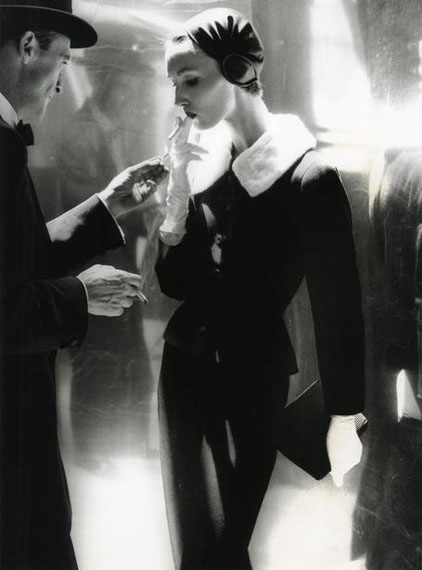 "Lillian Bassman ""By Night, Shining Wool and Toweling Heel, Suit by Handmacher, Evelyn Tripp, New York, Harper's Bazaar (Untitled 17)"" 
