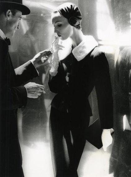 "Lillian Bassman ""By Night, Shining Wool and Toweling Heel, Suit by Handmacher, Evelyn Tripp, New York, Harper's Bazaar (Untitled 17)"" | n.d.© Lillian Bassman Estate / Courtesy of Edwynn Houk Gallery, New York & Zürich"