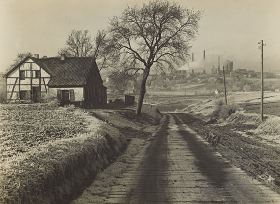 Albert Renger-Patzsch, Untitled (farmstead in Essen-Fronhausen and mine Rosenblumendelle). 1928