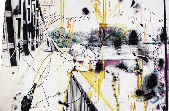 Sigmar Polke: o.T. (Oberkassler Brücke), 1971/83, Schwarzweißfotografie mit verschiedenen Farben übermaltStädtische Galerie Karlsruhe, Sammlung Garnatz© The Estate of Sigmar Polke / VG Bild-Kunst, Bonn 2016