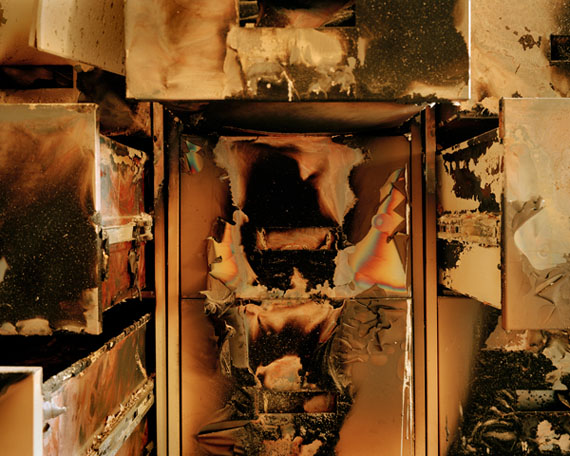 Burnt filing cabinets, Iraqi National Archives, Baghdad, April, 2003 © Simon Norfolk. Courtesy Michael Hoppen Gallery