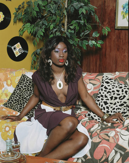 Mickalene Thomas, Portrait of Qusuquzah, 2008. C-print, 70¼ x 56¼ inches.Courtesy of the artist, Lehmann Maupin, New York and Hong Kong, and Artists Rights Society (ARS), New York