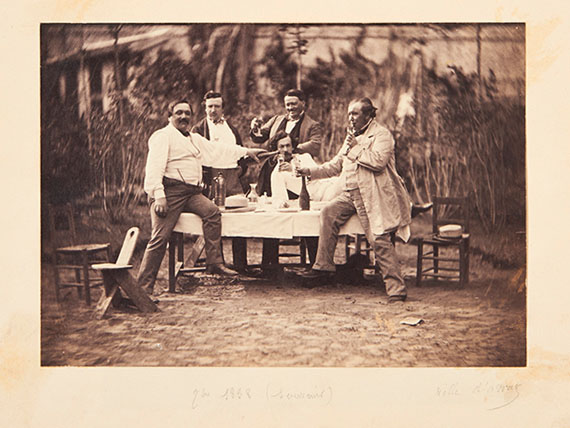 Outdoor group portrait of Gustave Le Gray surrounded by actor Louis Leménil and M. Benoit, 1858