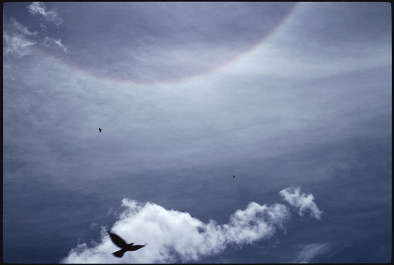 """Crows and halo above Rongbuk Monastery near Mt. Everest base camp,"" 2007 © Marissa Roth"