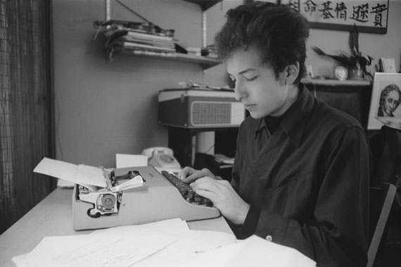 Bob Dylan at His Typewriter, New York City, 1964 © Ted Russell