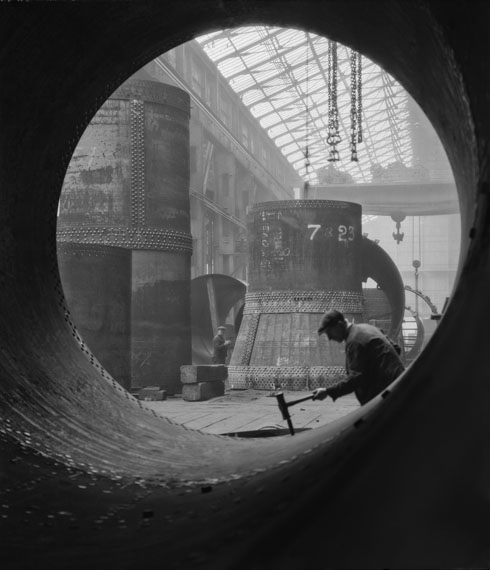 E.O. Hoppé: Rotary Kilns Under Construction in the Boiler Shop, Vickers-Armstrongs Steel Foundry, Tyneside, England, 1928