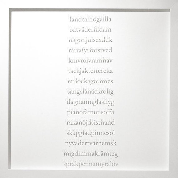 Pernilla Zetterman, Grammar, 2008Screen print on glass, 43 x 43 cm, Edition unique.