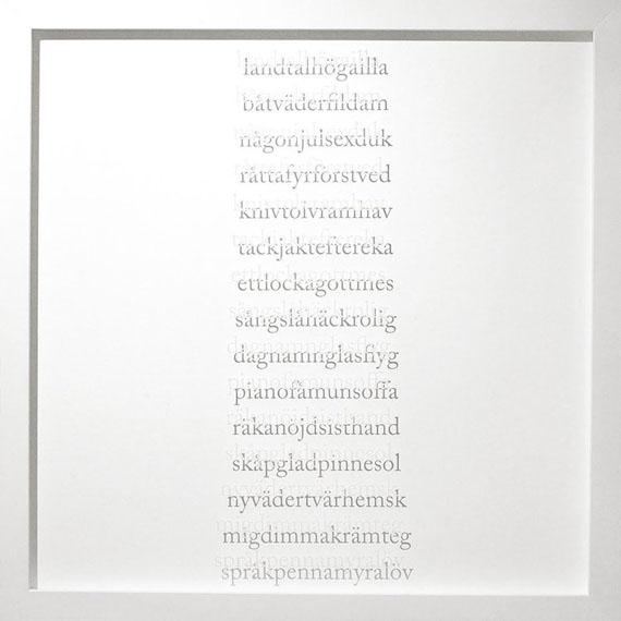 Pernilla Zetterman, Grammar, 2008Screen print on glass, 43 x 43 cm, Edition unique.