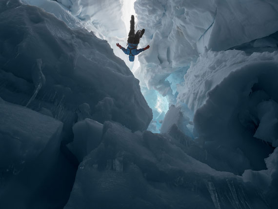 Shawnee inside a melting glacier, Juneau Icefield Research Program, Alaska. © Lucas Foglia, courtesy Michael Hoppen Gallery