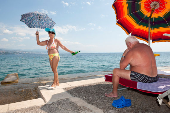 """Opatija, Croatia, August 30, 2011 Concrete bathing area along the Adriatic coast. From the series """"Mediterranean. The Continuity of Man"""" © Nick Hannes"""