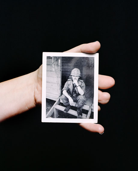 Mathieu Asselin, Heather Bowserholds a photograph of her father, Morris Bowser, Ohio, 2012 © Mathieu Asselin, all rights reserved