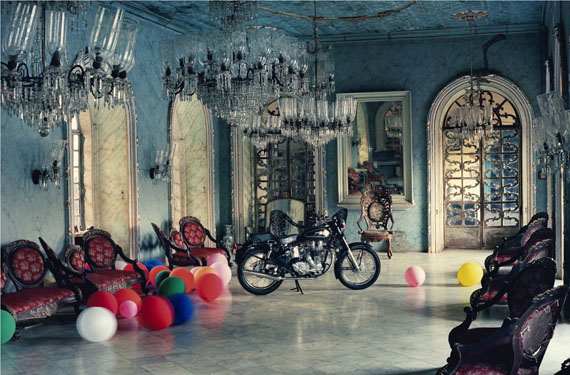 Tim Walker, Motorbike in Ballroom, Goa, India, 1999, © Tim Walker Courtesy Michael Hoppen Gallery, London