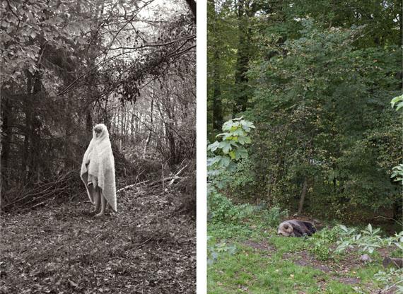 Ute BehrendMädchen mit Fell im Wald & Schlafender Bär, 2017C-Print, je 70 x 46,6 cmAus der Serie Bärenmädchen© 2018 Ute Behrend