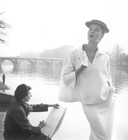 Louise Dahl-Wolfe: Suzy Parker by the Seine, Costume by Balenciaga, 1953