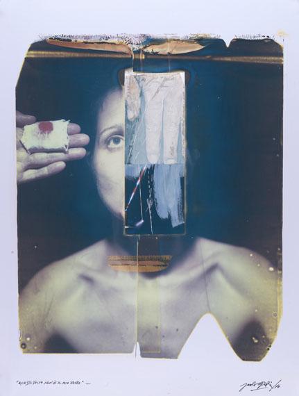 Paolo Gioli: Questo volto non è il mio volto (This Face Is Not My Face), 2010Polaroid 20x24 Polacolor und Polacolor-Transfer auf Acryl, 71 x 55 cm© Paolo Gioli