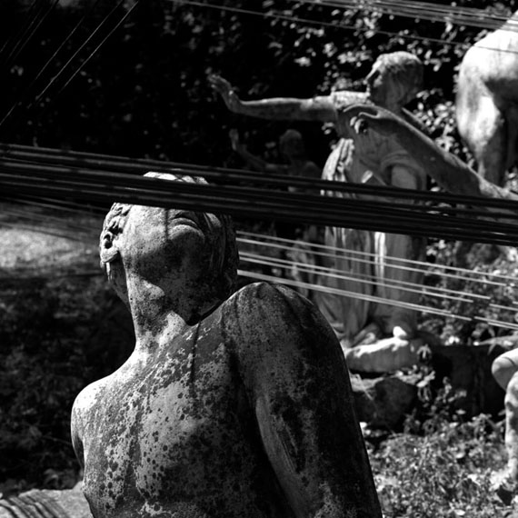 Hélène Binet'The myth of Niobe' Meshworks by Zaha Hadid, Villa Medici Gardens, Rome, Italy, 20002000Silver gelatin printCourtesy Hélène Binet and Large Glass, London