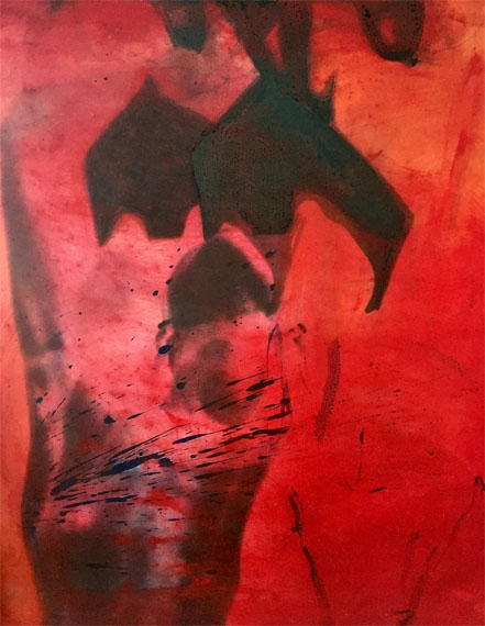 Red_nude, Tempera on photo canvas, 100 x 90 cm, 1991 © Corinna Rosteck