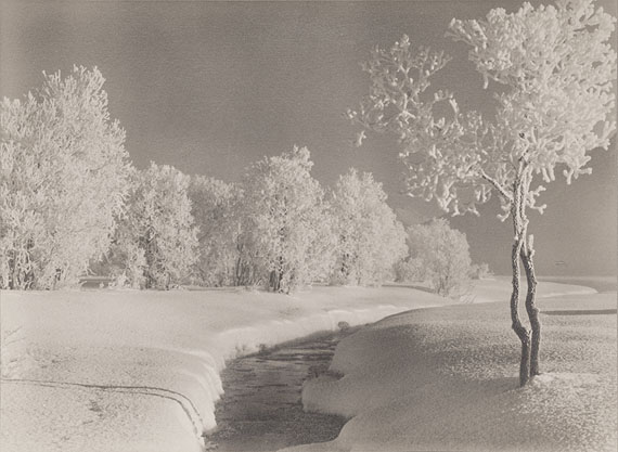 Albert Steiner, Winter landscape near Samaden, undated, signed Vintage gelatin silver print toned, 16.5 x 23 cm / 6.5 x 9 in. (size print), signed and titled on recto, ©Bruno Bischofberger, Meilen-Zürich