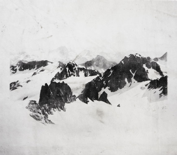 "Douglas Mandry, Mountains St. Moritz, from the series ""Monuments"", 2018, Lithography, stone print on used Geotextile,114 x 130 cm, Unique Piec, ©Douglas Mandry"