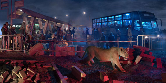 Nick Brandt: Bus station with lioness, 2018 © Nick Brandt Courtesy ATLAS Gallery London