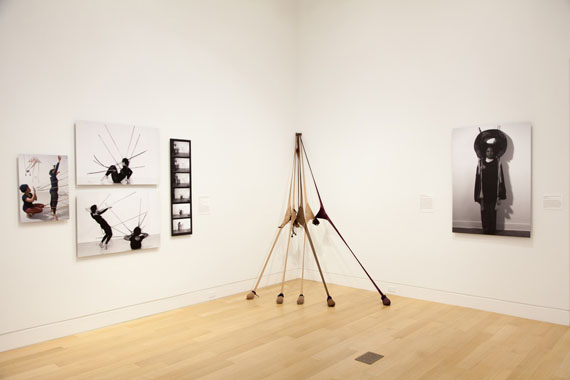 Senga Nengudi: Improvisational Gestures, installation view, 2017. Courtesy of DePaul Art Museum, Photograph by Lizabeth Applewhite