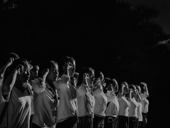 China, Shenzhen, 2017, Scene #1350 © Alex Majoli / Magnum PhotosThe employees of a beauty parlour participate in a pep rally before starting work.
