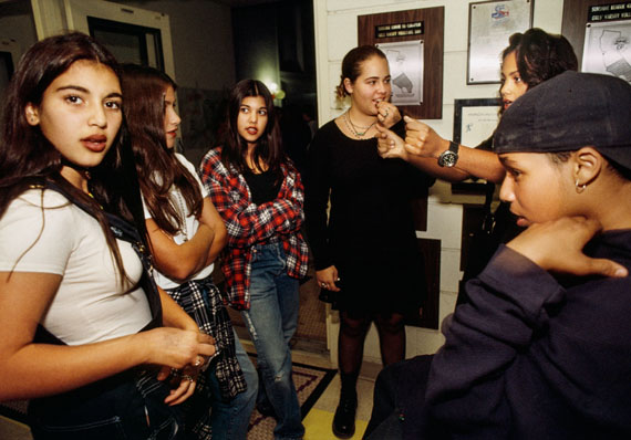 Lauren Greenfield: Prom Kim Kardashian, 12, and her sister Kourtney (third from left), 13, at a school dance in Bel-Air, Los Angeles, 1992. Credit: Lauren Greenfield/INSTITUTE © Lauren Greenfield