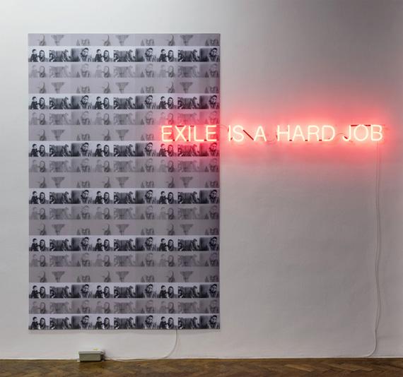 Nil YalterEXILE IS A HARD JOB, 1976/2015Digitalprint auf Stoff, Neon 276 x 335 cmGalerie Hubert Winter