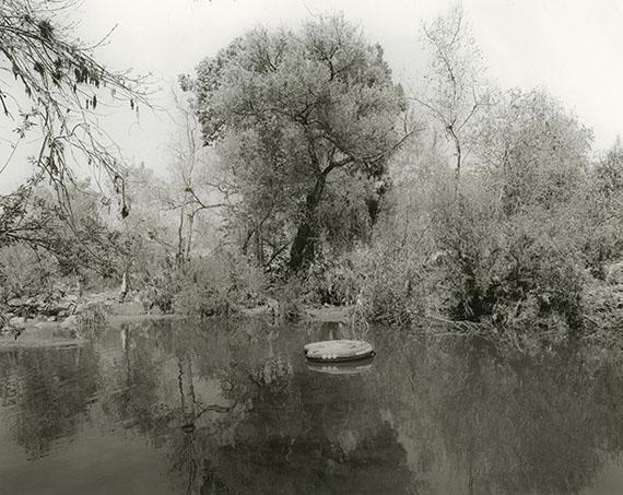 "Mark Ruwedel""LA River/Sepulveda Basin #85, 2018"", 2018Gelatin silver print mounted on board11 x 14"" on 20 x 24"" board© Mark Ruwedel"