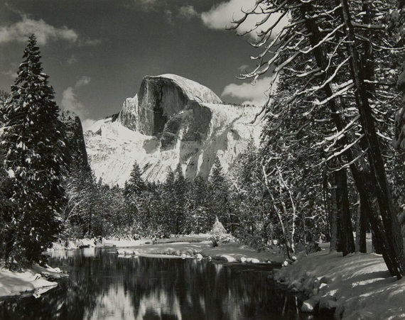 ANSEL ADAMS Half Dome, Merced River, Winter, Yosemite Valley, 1938 ca. Gelatin silver print, printed in 1940s