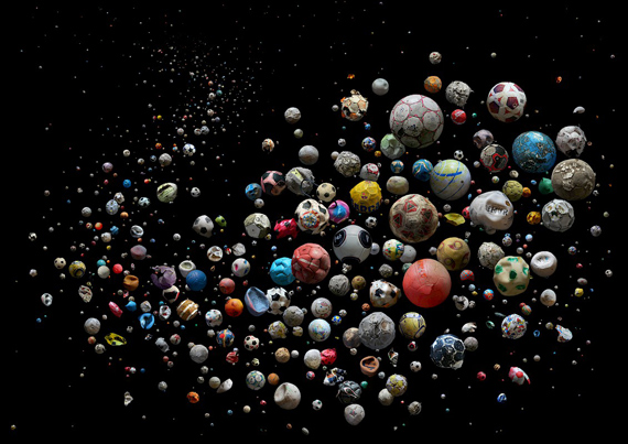 MANDY BARKER, PENALTY - Europe'  633 marine debris footballs (and pieces of)  © Mandy Barker, Courtesy of East Wing Gallery, Dubai