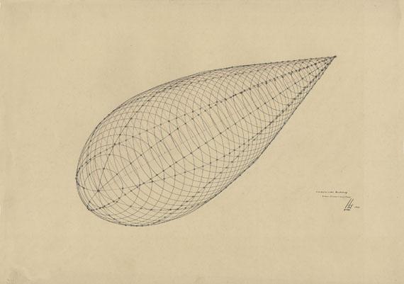 Isometric representation of streamlines (Harms 1933)preliminary course Fritz SchleiferLandeskunstschule Hamburg 1930–33photograph, 50 x 70 cmHamburgisches Architekturarchiv – Bestand Fritz Schleifer© Jan Schleifer