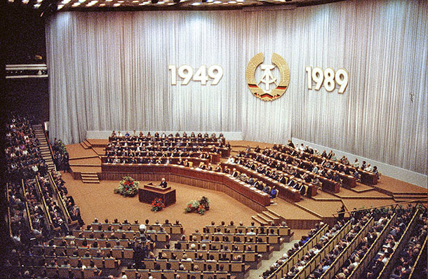 José Giribás Marambio: Official state act on the 40th anniversary of the GDR at the Palace of the Republic on 06.10.1989 in Berlin, GDR.