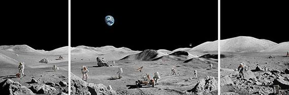"""Michael Najjar""""lunar explorers"""", 2019triptych: 132 x 390 cm / 52 x 153.5 in, edition of 6 + 2 APtriptych: 67 x 197,4 cm / 26.4 x 77.8 in, edition of 6 + 2 APHybrid photography, archival pigment printaludibond, diasec, custom-made aluminium frame"""
