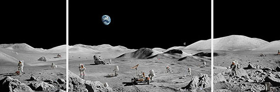 "Michael Najjar""lunar explorers"", 2019182 x 544 cm, triptych"