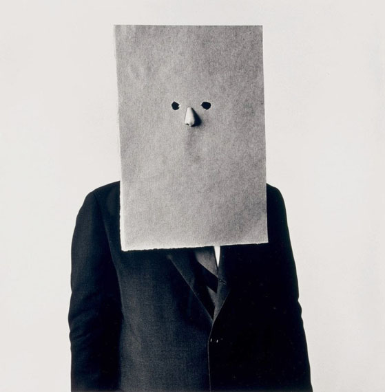 Irving PennSaul Steinberg in Nose Mask, New York, 1966Platinum palladium print24 x 20 7/8 in.Edition of 36© The Irving Penn Foundation