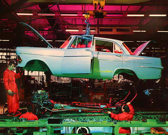 © René Groebli, Assembly of an Opel Record, General Motors, Biel, Switzerland