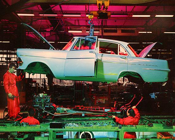 © René Groebli, Assembly of an Opel Record, General Motors, Biel, SwitzerlandTaken with six flash-lights and coloured foils, No. D21, 1961