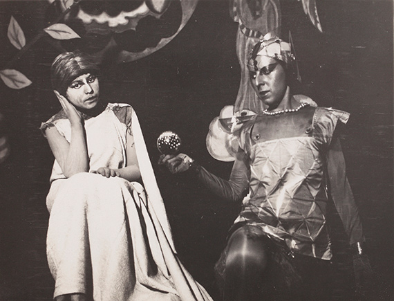 132. Claude Cahun (Lucy Schwob, known as) (1894-1954) Dramatic research theater, May-June 1929. Claude Cahun (selfportrait) and Solange Roussot in The Mystery of Adam. Vintage gelatin silver print.