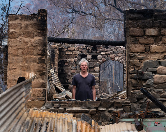 Gideon Mendel: Marco Frith at his burnt home in Wandella, 2020