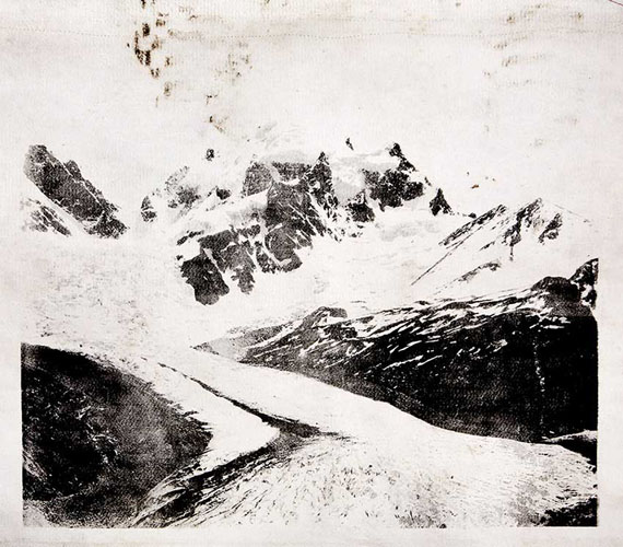 © Douglas Mandry, from the series »Monuments«, Roseg, 2020, Unique piece, Lithography on used Geotextile (Glacier protection blanket), 87,3 x 118 cm (print)