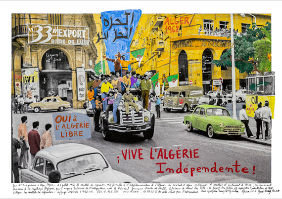 Marcelo Brodsky ALGERIE 1962, 2019Inkjet prints on cotton paper Hahnemühle photo rag, intervened by the artist with crayon and aquarelle.Edition of 7 plus 2 artist's proofs