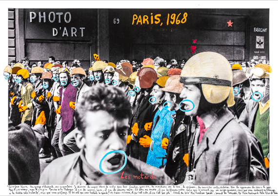 Marcelo Brodsky PARIS 1968, 2017Inkjet prints on cotton paper Hahnemühle photo rag, intervened by the artist with crayon and aquarelle.60 x 90 cmEdition of 7 plus 2 artist's proofs