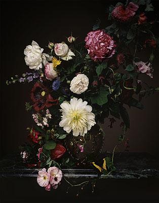 Bouquet de fleurs dans un vase de verre, © 2006 by Guido Mocafico