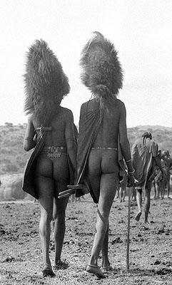 Two Maasai Warriors with lion mane Head-dress, Kenya 1967 © Mirella Ricciardi courtesy Michael Hoppen Gallery