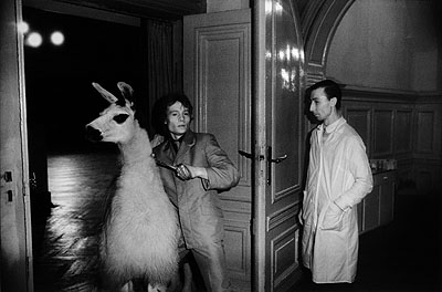 Erasmus Schröter, A llama must be brought into the dance hall, Leipzig, 1981. From the series Infrared Night Shots, (DDR 1980-1982). Galerie Kleindienst Leipzig