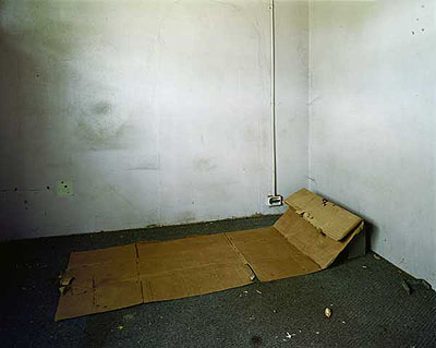 Pieter HugoCardboard bed in an abandoned building, 2006C-print, 128,5 x 152, 5 cmcourtesy: Kuckei + Kuckei, Berlin and Michael Stevenson, Cape Town